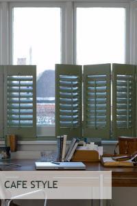 cafe style window shutters in green