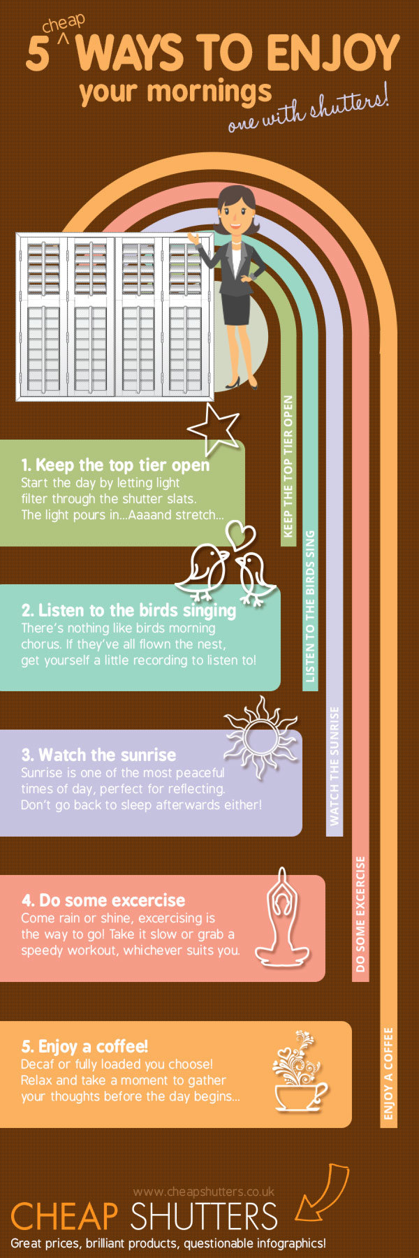 Infographic showing ways to enjoy mornings more cheaply including with shutters
