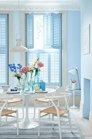 powder blue kitchen shutters from Cheap Shutters