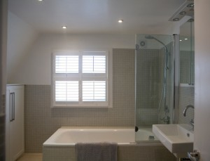 Clean and stylish bathroom shutters