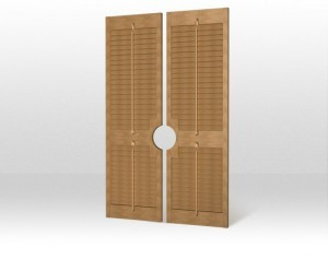 French door shutters showing cut out for handle