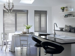 Perfect kitchen shutters in grey