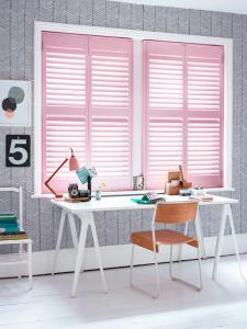 Home office shutters create beautiful lines