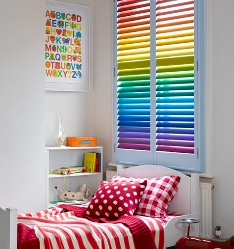 bright rainbow bedroom shutters not available to order