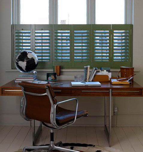 Office with cafe shutters for provacy