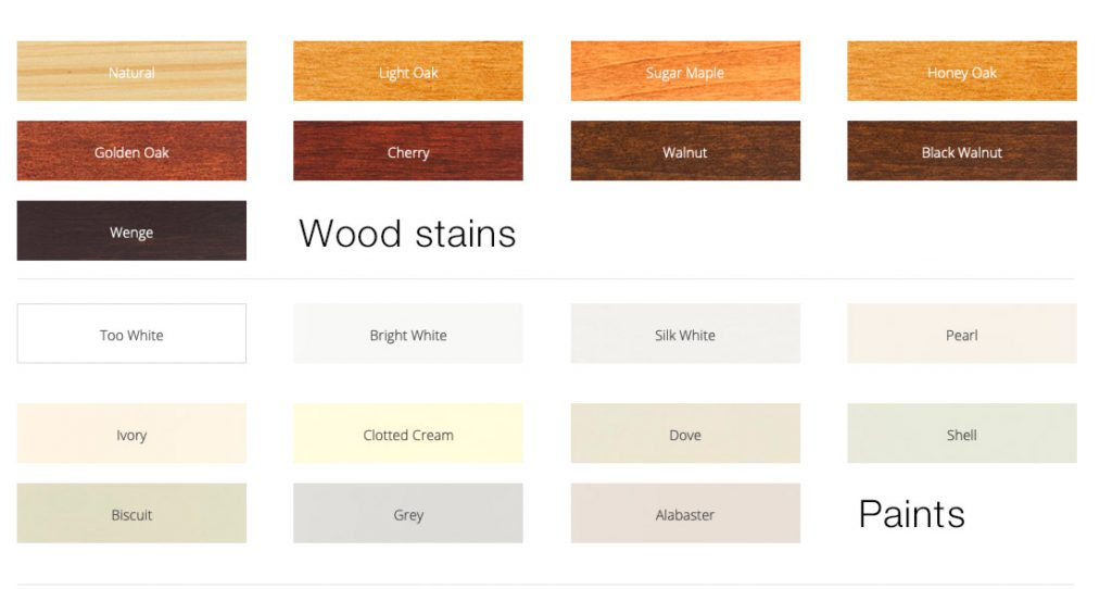 Stain and paint options for our window shutters in wood