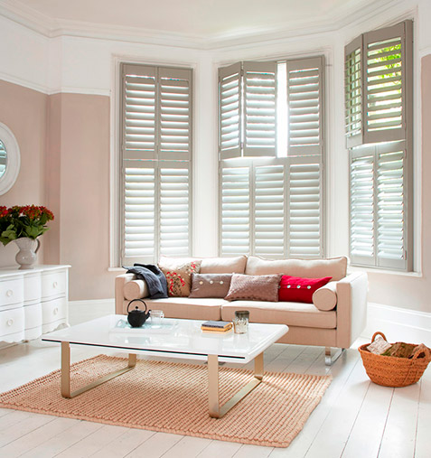 grey bay window shutters