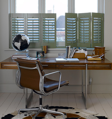 Cafe style shutters are ideal in a home office