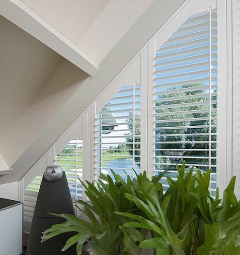 Huge window with panel of shaped shutters