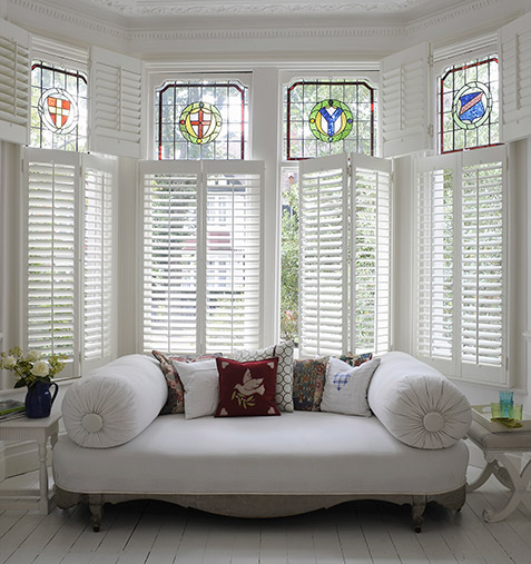 tier on tier bay window shutters