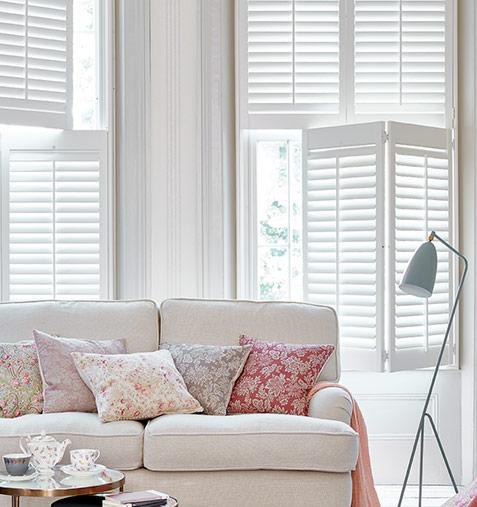 white light tier on tier shutters in lounge bay