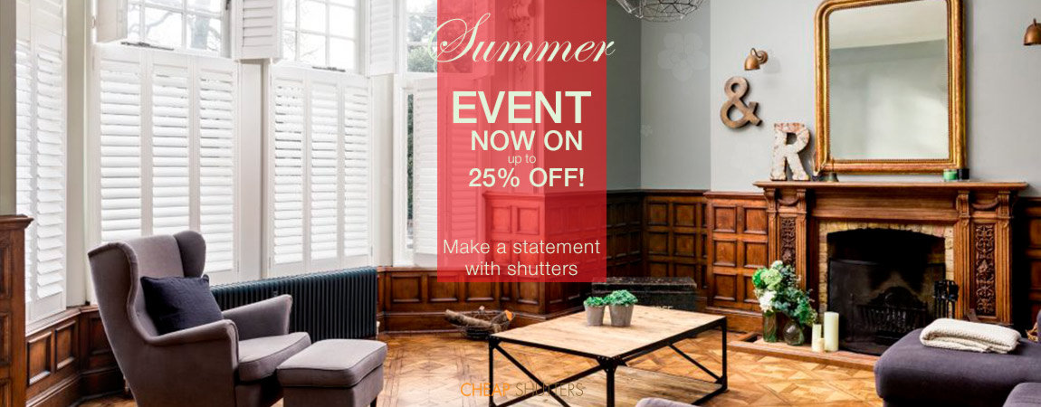 A statement of window shutters in large drawing room with extra 25% discount for summer season