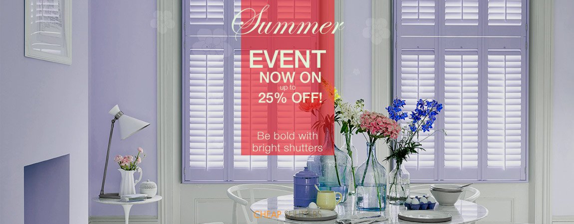 choose bright colour window shutters and get up to 25% off this summer